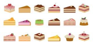 Комплект сладостных yummy тортов белизна изолированная предпосылкой Стоковые Изображения