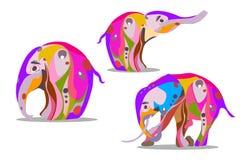 Комплект 3 слонов в абстрактной версии на индийские праздники Стоковое фото RF