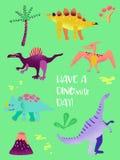 Комплект смешного Dinosaurus для печати плаката, иллюстрации приветствиям младенца, приглашения Dino, рогульки магазина динозавра иллюстрация штока