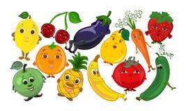 Комплект смешных фруктов и овощей с сторонами, smileys Стоковое Изображение