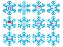 Комплект снежинок Кристмас иллюстрация вектора