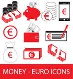 Комплект, собрание или пакет значка или логотипа валюты евро Стоковое Фото