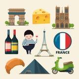 Комплект собрания ориентир ориентиров Франции Комплект значка вектора в стиле шаржа Стоковые Изображения RF