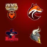 Комплект современного профессионального логотипа для команды спорта Викинги, бандиты, хитрят символ вектора талисмана на темной п иллюстрация вектора