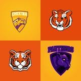 Комплект современного профессионального логотипа для команды спорта Символ вектора талисмана пантеры тигра гепарда на темной пред иллюстрация вектора