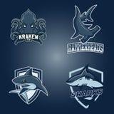 Комплект современного профессионального логотипа для команды спорта Акулы, молоты kraken символ вектора талисмана на темной предп бесплатная иллюстрация