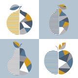 Комплект современной геометрической иллюстрации плодоовощ иллюстрация штока