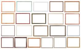 Комплект современных деревянных изолированных картинных рамок Стоковые Изображения RF