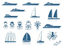 Комплект современных силуэтов яхты Стоковое Фото