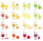 комплект сока иконы плодоовощ Стоковое Изображение