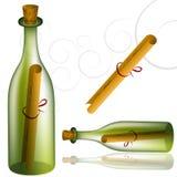 комплект сообщения бутылки иллюстрация вектора