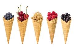 Комплект сортированного плодоовощ ягод в изолированном конусе мороженого waffle стоковое изображение rf
