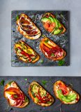 Комплект сортированного bruschetta стоковое изображение rf