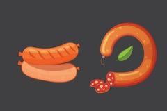 Комплект сосиски шаржа вектора Бекон, отрезанное салями и закуренный кипеть Изолированные свежие значки деликатеса зажжено иллюстрация штока