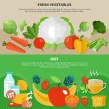 Комплект состава здоровой еды плоский иллюстрация вектора