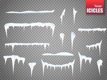 Комплект сосулек снега изолированных на прозрачной предпосылке вектор иллюстрация штока