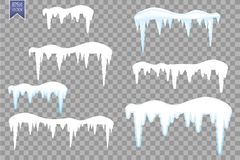 Комплект сосулек снега, крышка снега изолированная на прозрачной предпосылке Элементы Snowy на предпосылке зимы лавр граници поки иллюстрация вектора