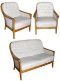 Комплект софы и кресла изолированных на белых wi предпосылки Стоковая Фотография