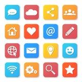 Комплект социальных значков сети Плоский стиль дизайна Стоковое Изображение RF