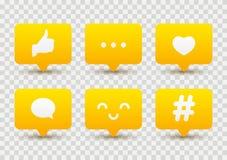 Комплект социальных значков средств массовой информации иллюстрация вектора