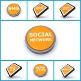 Комплект социальных кнопок средств Стоковая Фотография