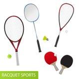 Комплект спортивного инвентаря ракетки для тенниса, настольного тенниса, бадминтона и сквоша Стоковые Фото