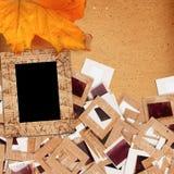 Комплект старых винтажных скольжений, фото и фильм с осенью листают Стоковое фото RF