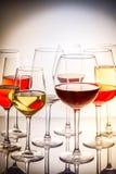 Комплект стекел с вином стоковое изображение