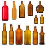 комплект стекла бутылок коричневый Стоковые Фото