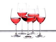 Комплект стекла вина 5 частей Стоковая Фотография
