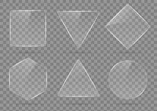 Комплект стекла, прозрачные геометрические формы Стоковая Фотография RF