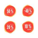 Комплект стикера скидки Бирка продажи красная изолированная на белой предпосылке Ярлык цены предложения скидки вектор Стоковое Изображение RF