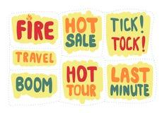 Комплект стикера с надписями последняя минута и горячая продажа иллюстрация вектора