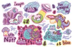 Комплект стикеров вектора, заплат с милым единорогом, йети, дракона, кота и русалки, Лох-Несс, ufo и Godzilla иллюстрация штока