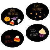 Комплект 4 стикеров хеллоуина kawaii стоковые изображения