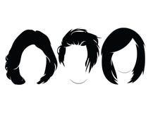 Комплект стилей причёсок для женщин Собрание черных силуэтов стилей причёсок для девушек бесплатная иллюстрация