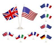 КОМПЛЕКТ - Стойка таблицы с флагами Стоковая Фотография RF