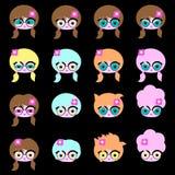 Комплект 16 сторона характера с различными стилями причёсок бесплатная иллюстрация