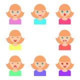 Комплект сторон девушек с различными эмоциями, квартира иллюстрации бесплатная иллюстрация