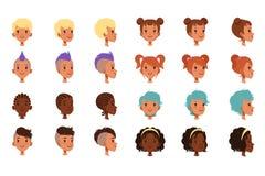 Комплект сторон мальчиков вектора головных с различными стилями причёсок Панковская стрижка mohawk, dreadlocks, классических и ул бесплатная иллюстрация