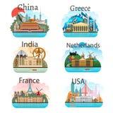 Комплект стран с привлекательностями Стоковое Фото