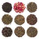 Комплект сухого травяного и флористического чая Чая изолированные на белизне Стоковое Изображение