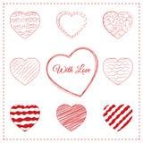 Комплект 10 схематичных сердец doodle Стоковое Изображение