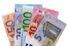 Комплект счетов валюты евро изолированных на белизне Стоковое Изображение