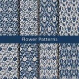 Комплект с 8 безшовными цветочными узорами арабескы вектора с винтажной печатью конструируйте для ткани, упаковывающ, мода, крышк Стоковое Изображение RF