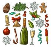 Комплект с Рождеством Христовым и Нового Года Гравировка цвета вектора винтажная иллюстрация вектора