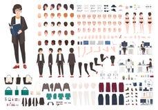 Комплект творения женщины секретарши или набор DIY Собрание женского персонажа из мультфильма Стоковое Изображение RF