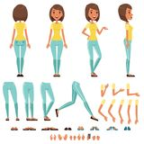 Комплект творения характера молодой женщины, девушка с различными взглядами, стилями причёсок, представляет и показывать иллюстра бесплатная иллюстрация