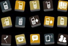 комплект телефона иконы иллюстрация вектора