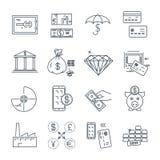 Комплект тонкой линии дела значков, финансов, денег бесплатная иллюстрация
